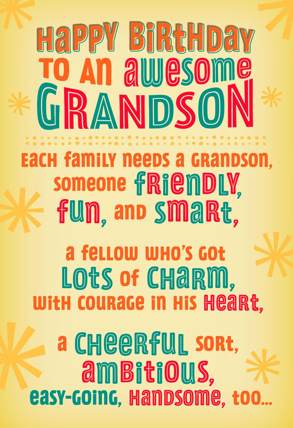 Cheerful Handsome Fun Smart Grandson Birthday Card Greeting