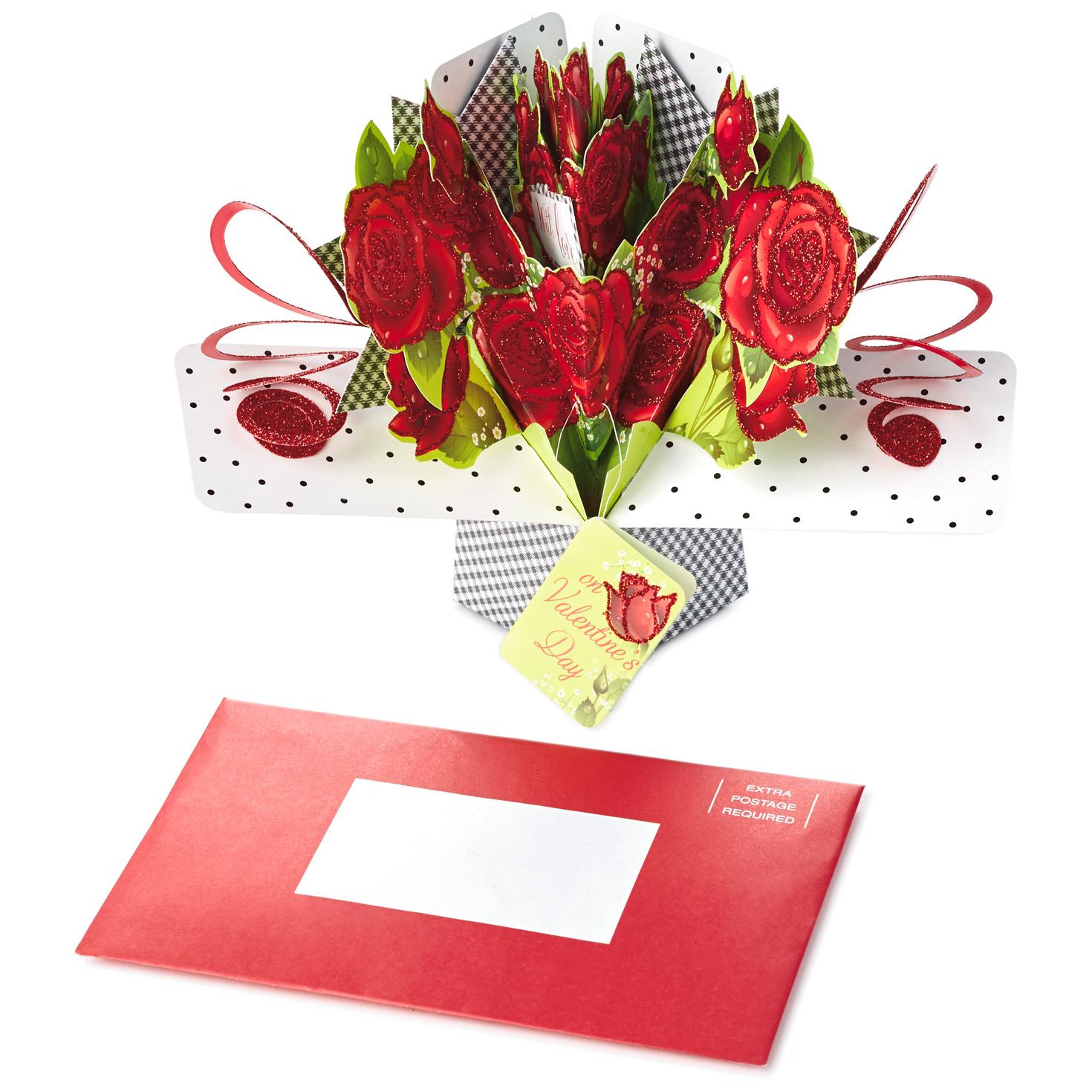 bouquet of roses popup valentine's day card  greeting
