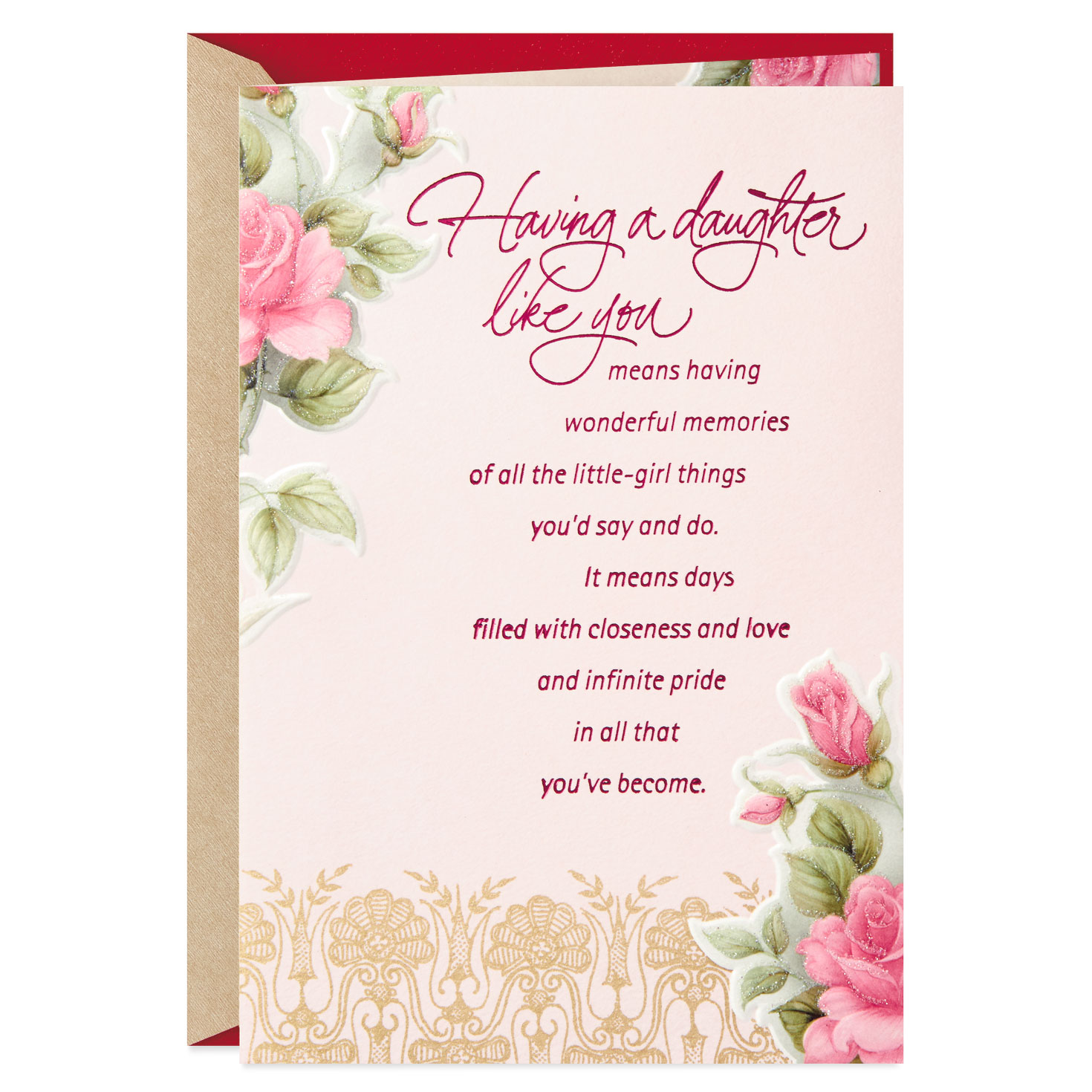 Pink Roses All You've Become Valentine's Day Card for ...