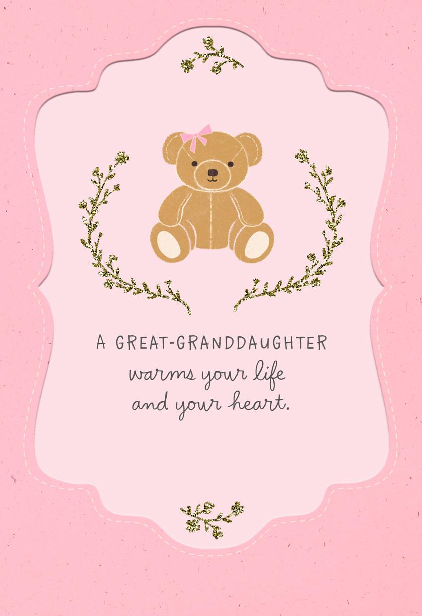 teddy bear new baby great granddaughter congratulations card greeting cards hallmark