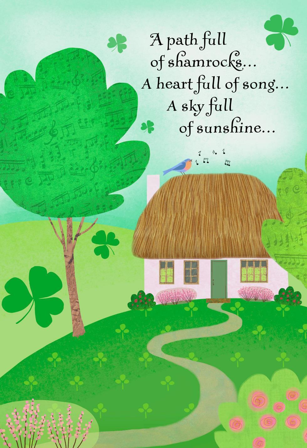 Pink Cottage Path Of Shamrocks St Patricks Day Card Greeting