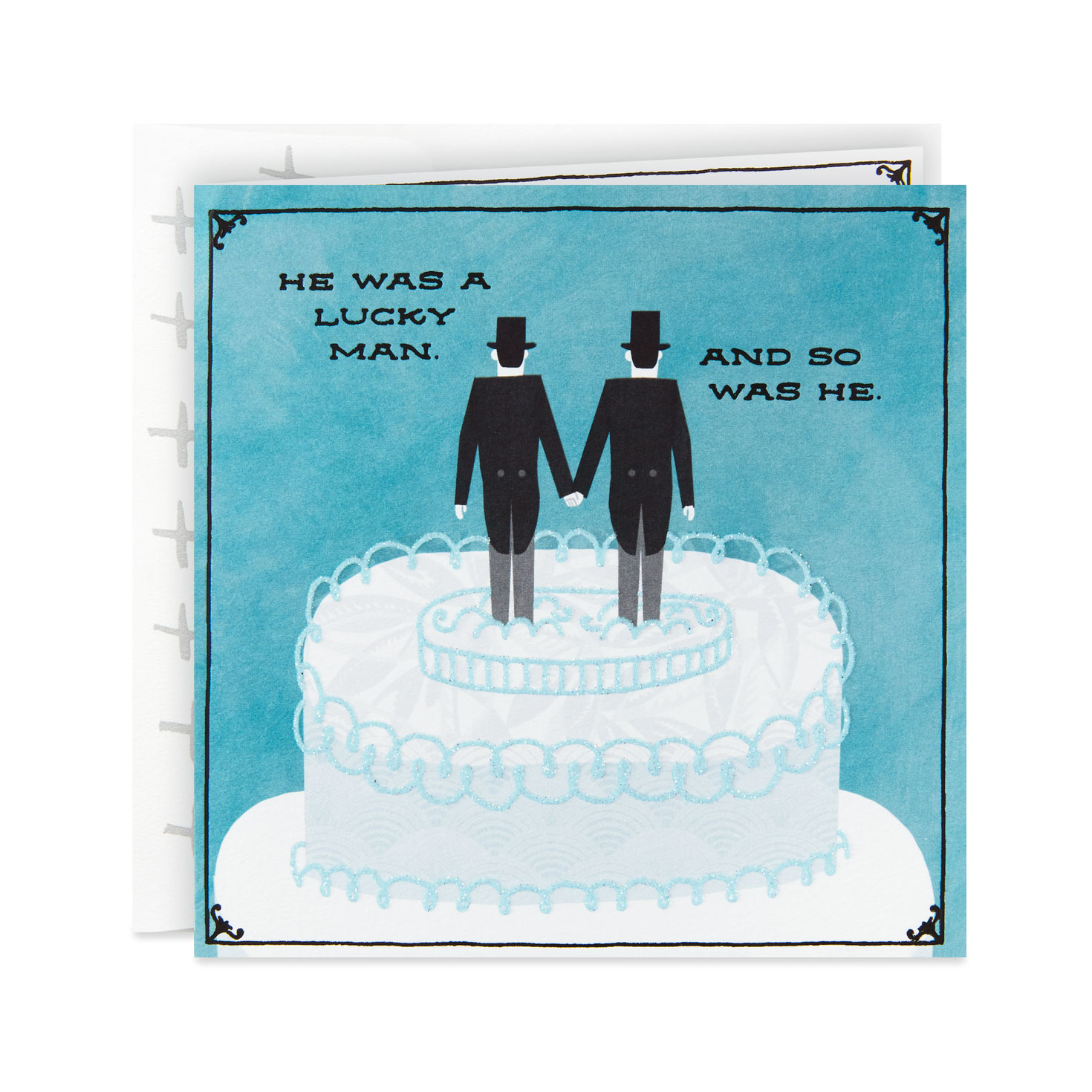 groom and groom wedding cake toppers congratulations card