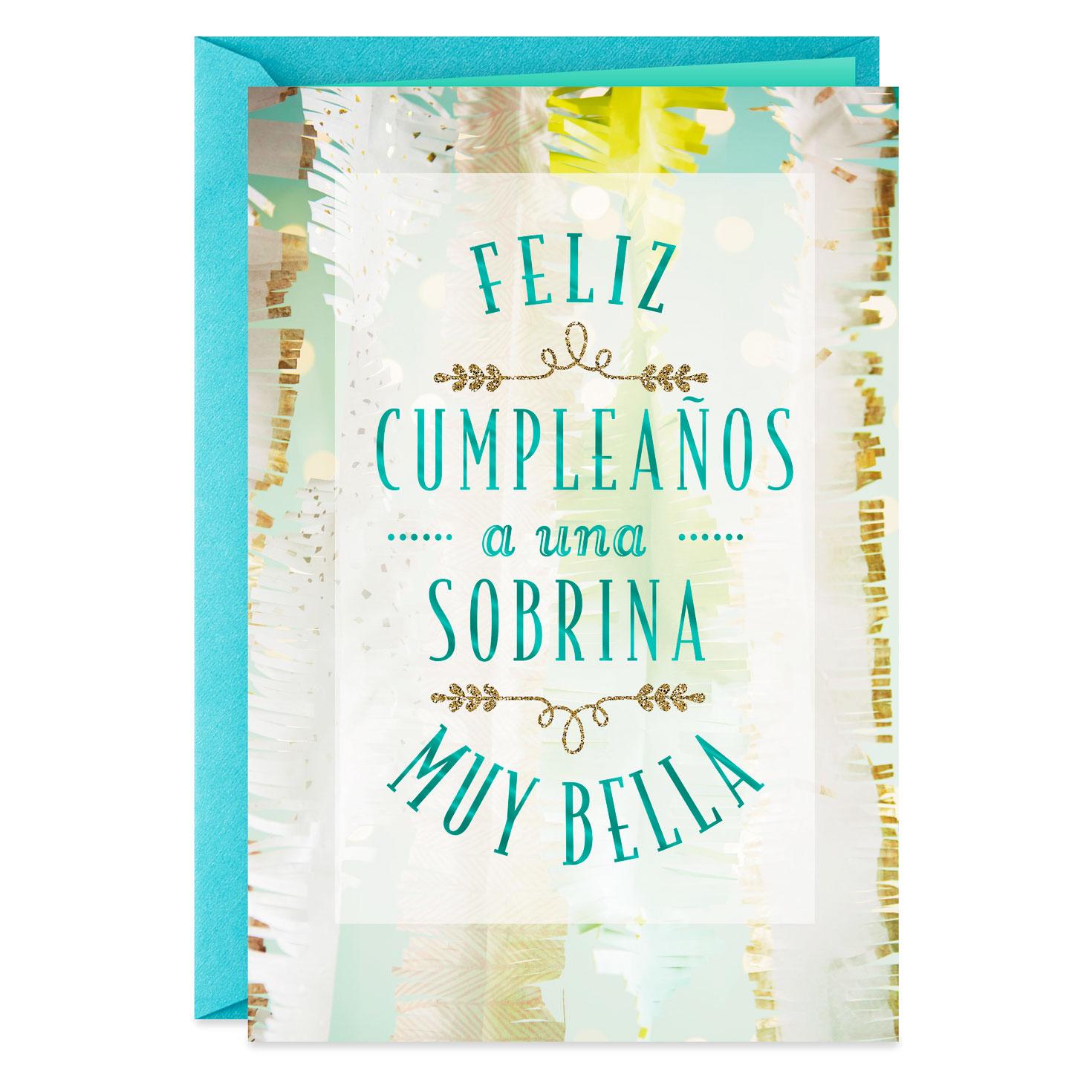 for a beautiful niece spanishlanguage birthday card