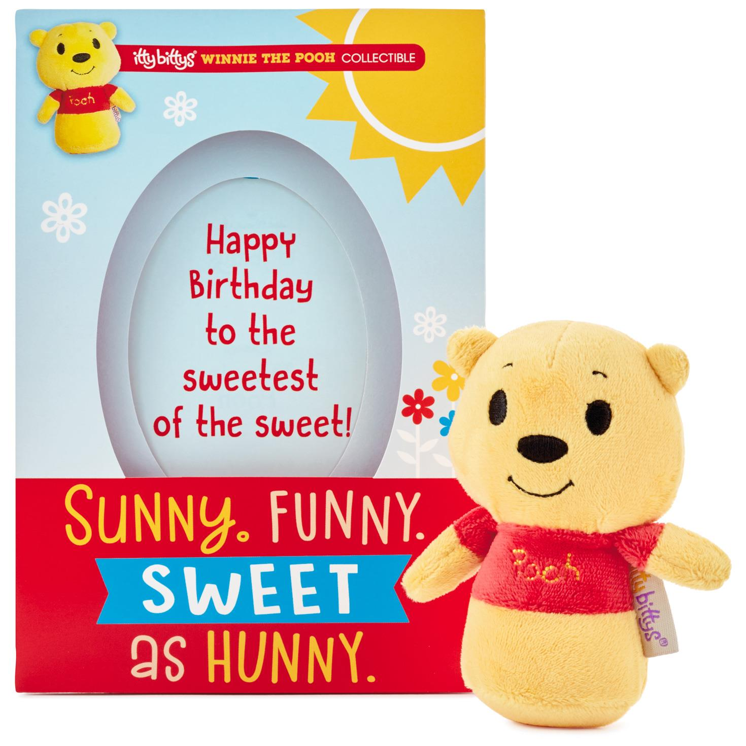 itty bittyswinnie the pooh birthday card with stuffed animal