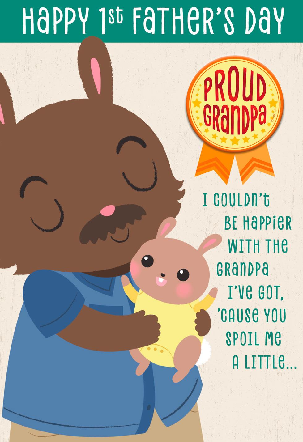 bunny love father u0027s day card with button for grandfather