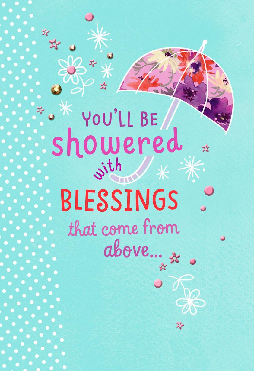 blessings from above religious bridal shower card