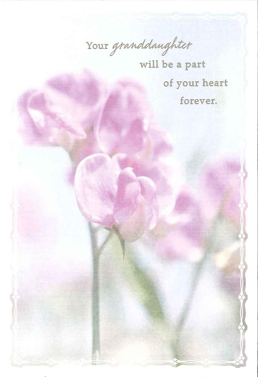 Purple Flowers Loss of Granddaughter Sympathy Card ...