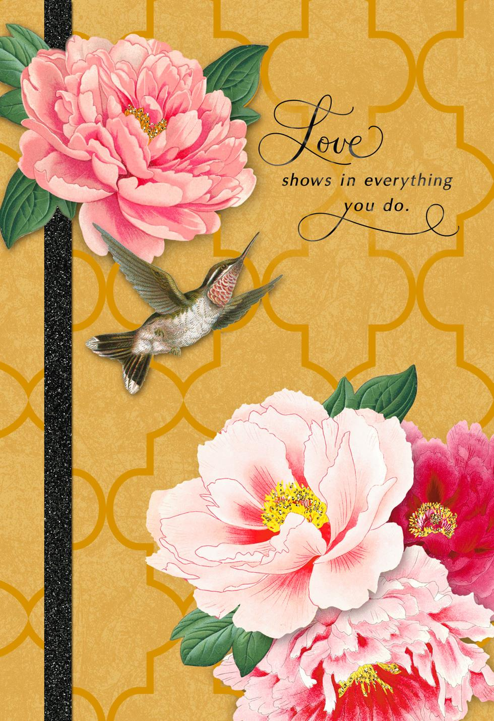 Hummingbird and pink flowers mother 39 s day card greeting Hallmark flowers