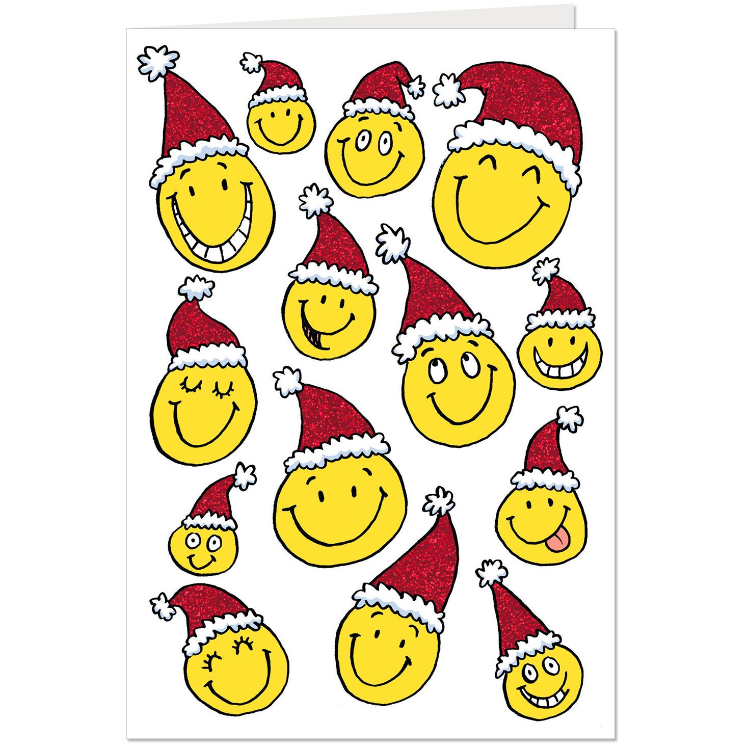 santa smiley faces christmas card - Christmas Smiley Faces