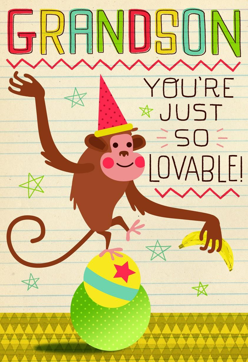 Monkey Birthday Card for Grandson Greeting Cards Hallmark – Birthday Greetings Grandson