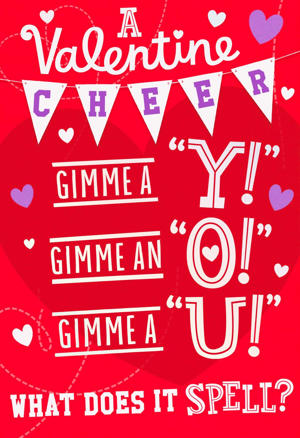 awesome cheer valentines day card for kid