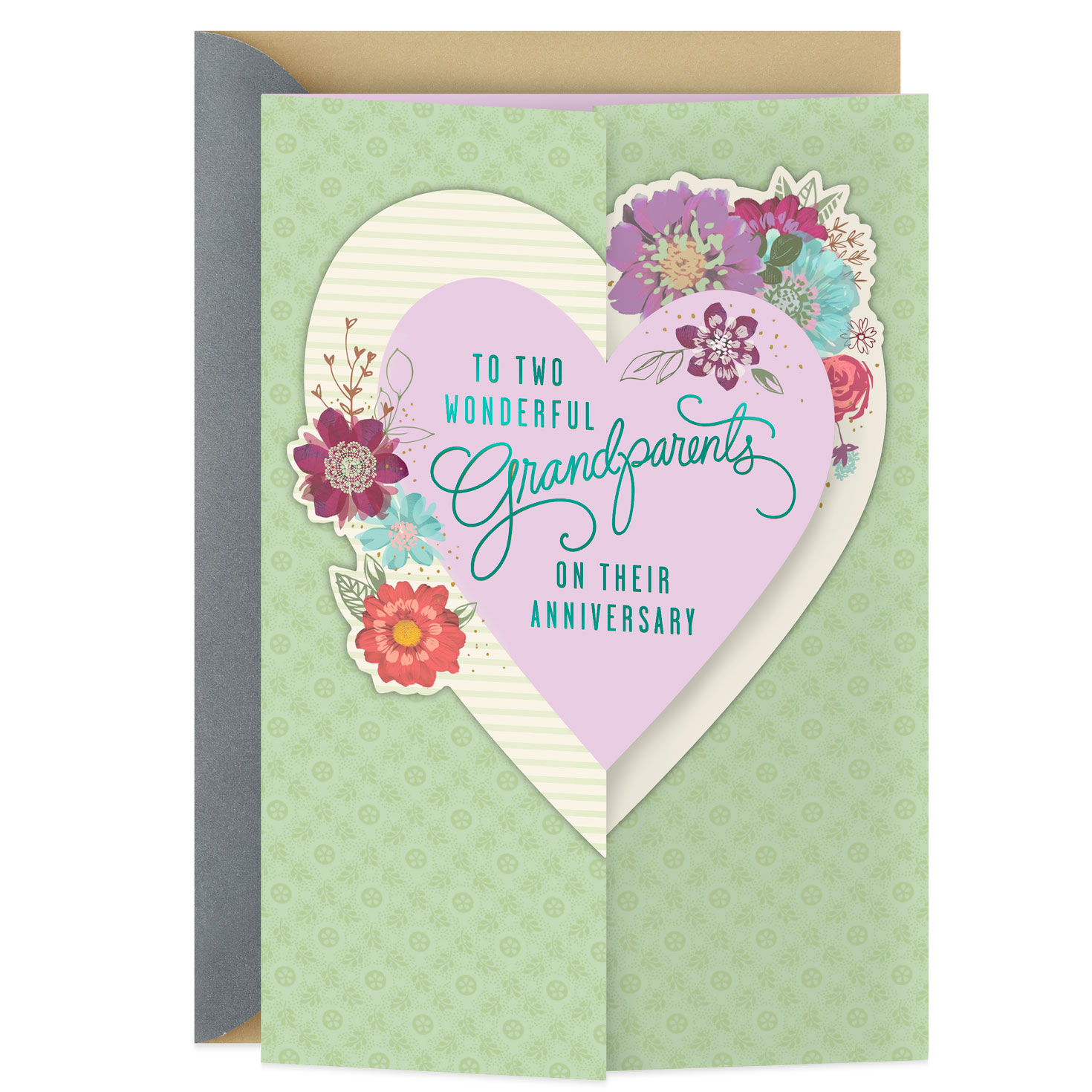 two wonderful grandparents anniversary card  greeting