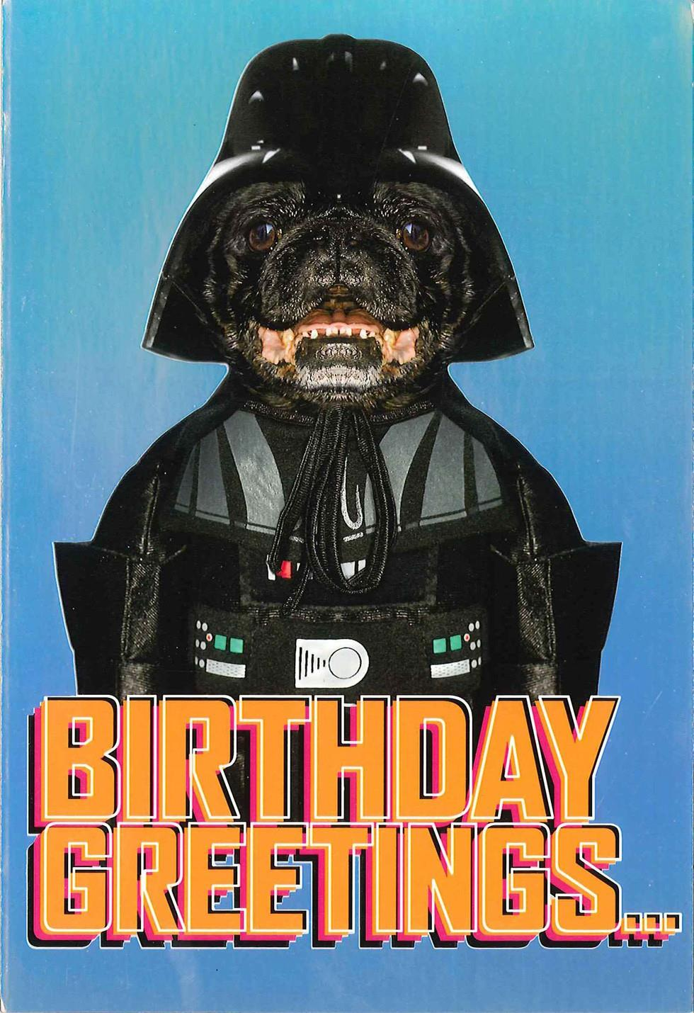 Star Wars Darth Vader Dog Birthday Card Greeting Cards