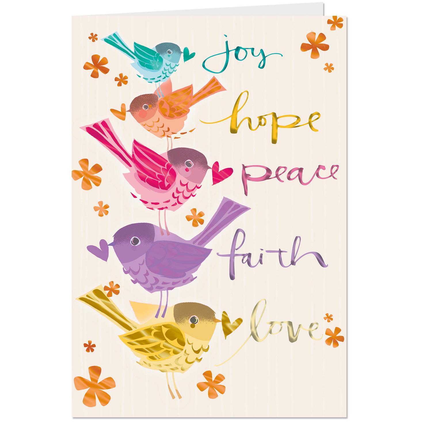 Joy, Hope, Peace Religious Birthday Card