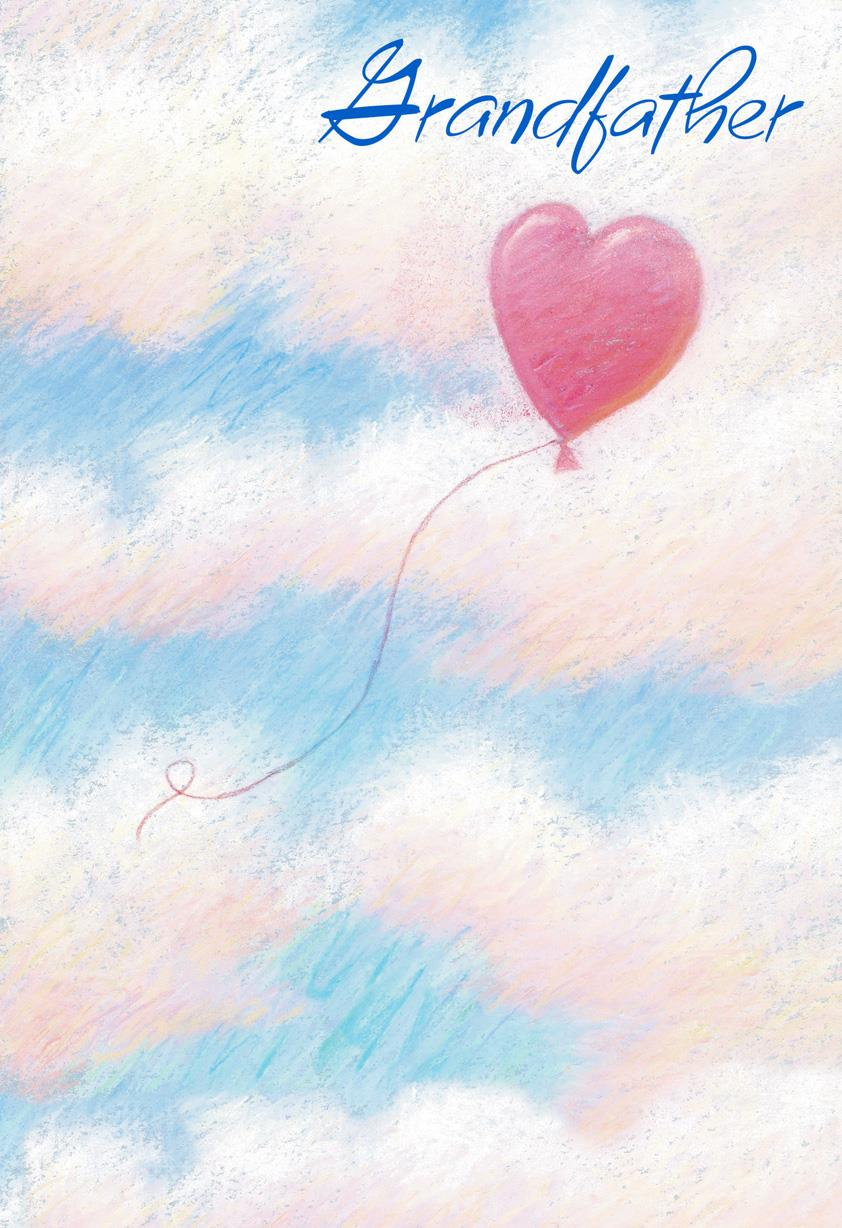 Heart Balloon In Clouds Birthday Card For Grandfather