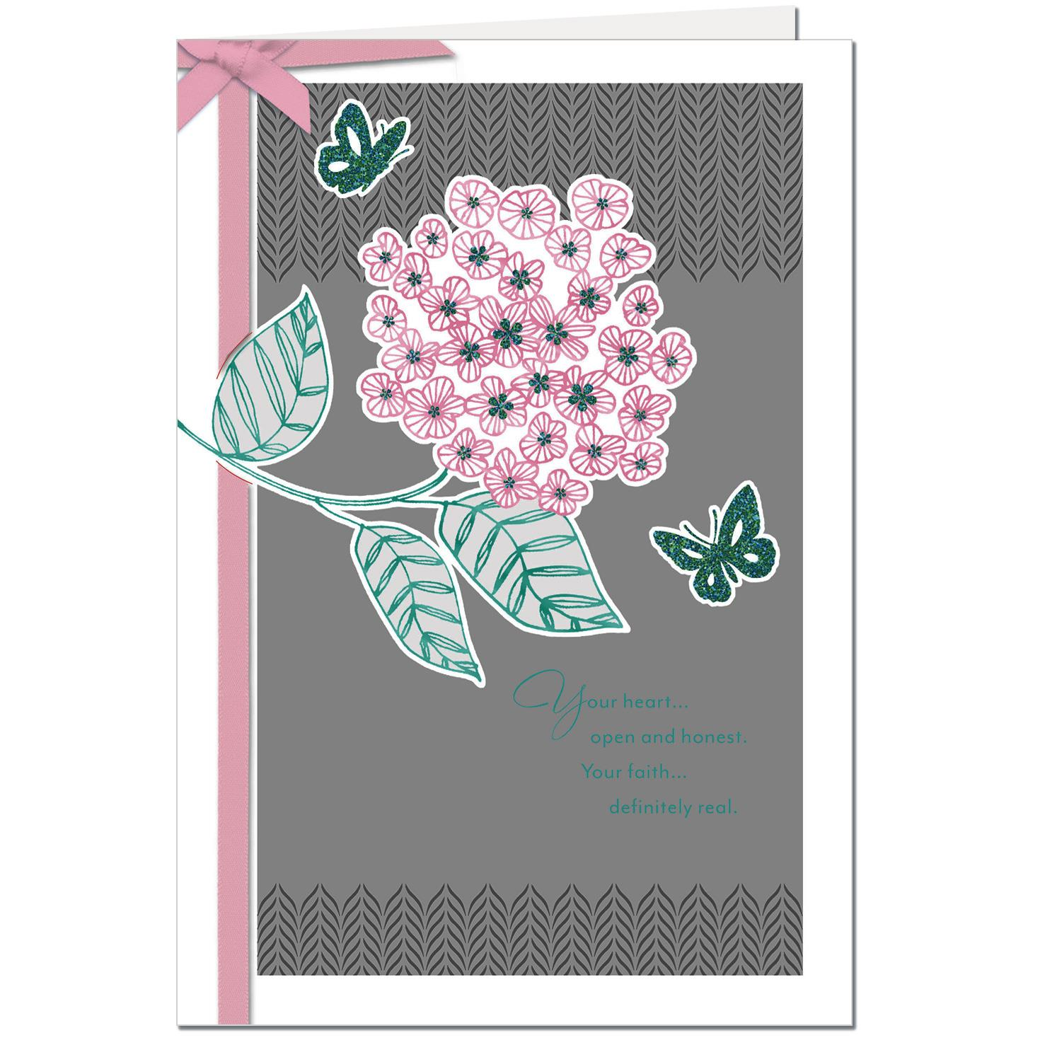 Pink Flower With Butterflies Birthday Card