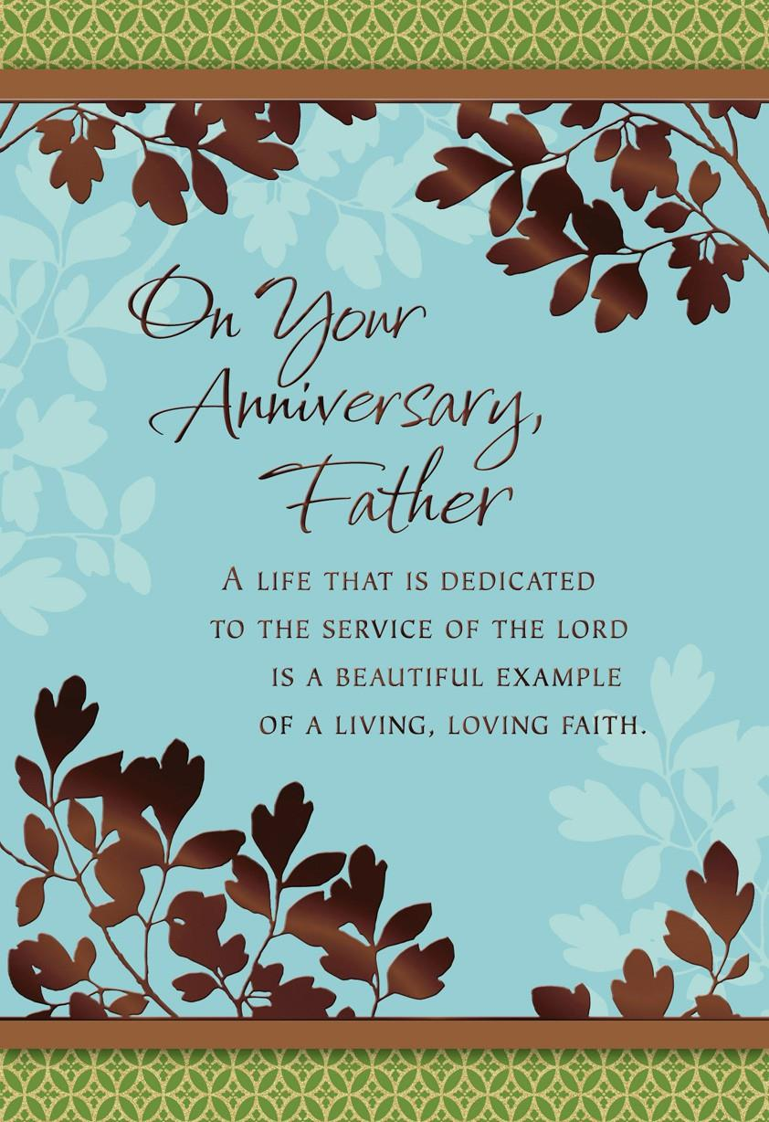 Leafy Branches Anniversary Card For Priest Greeting