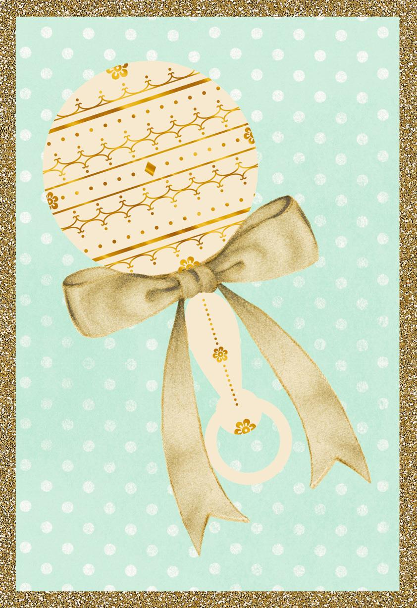 Vintage Rattle and Ribbon Blank Baby Congratulations Card ...