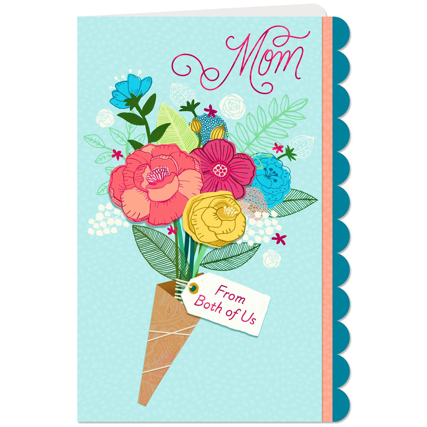 Flower Bouquet Thinking Of You Birthday Card For Mom From Both