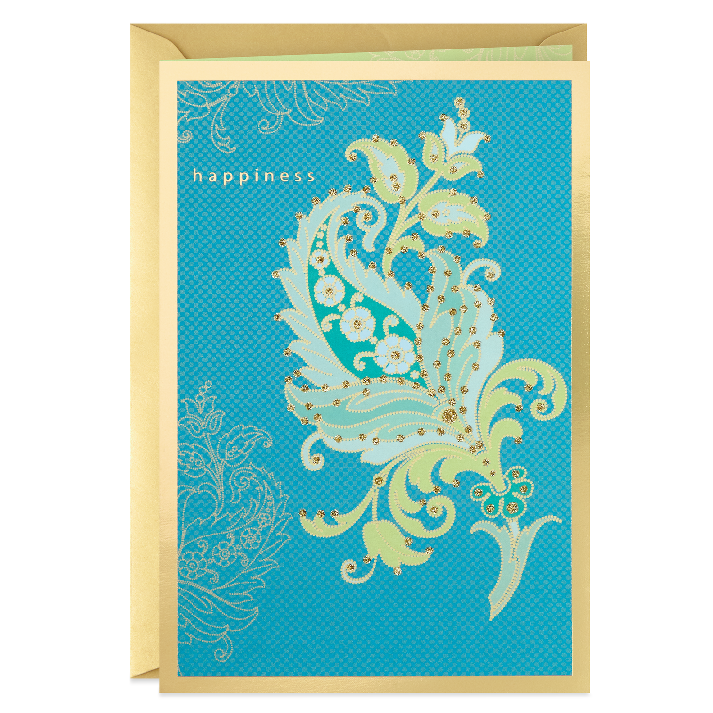 happiness paisley flower blank card  greeting cards