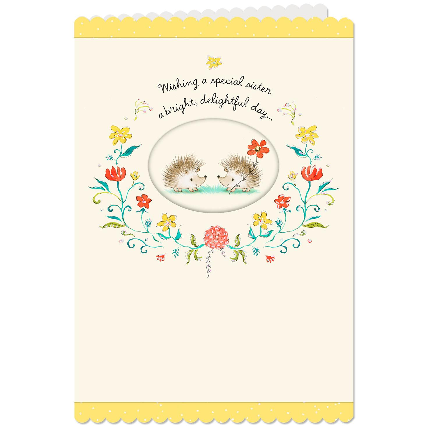 Two Hedgehogs Birthday Card For Sister
