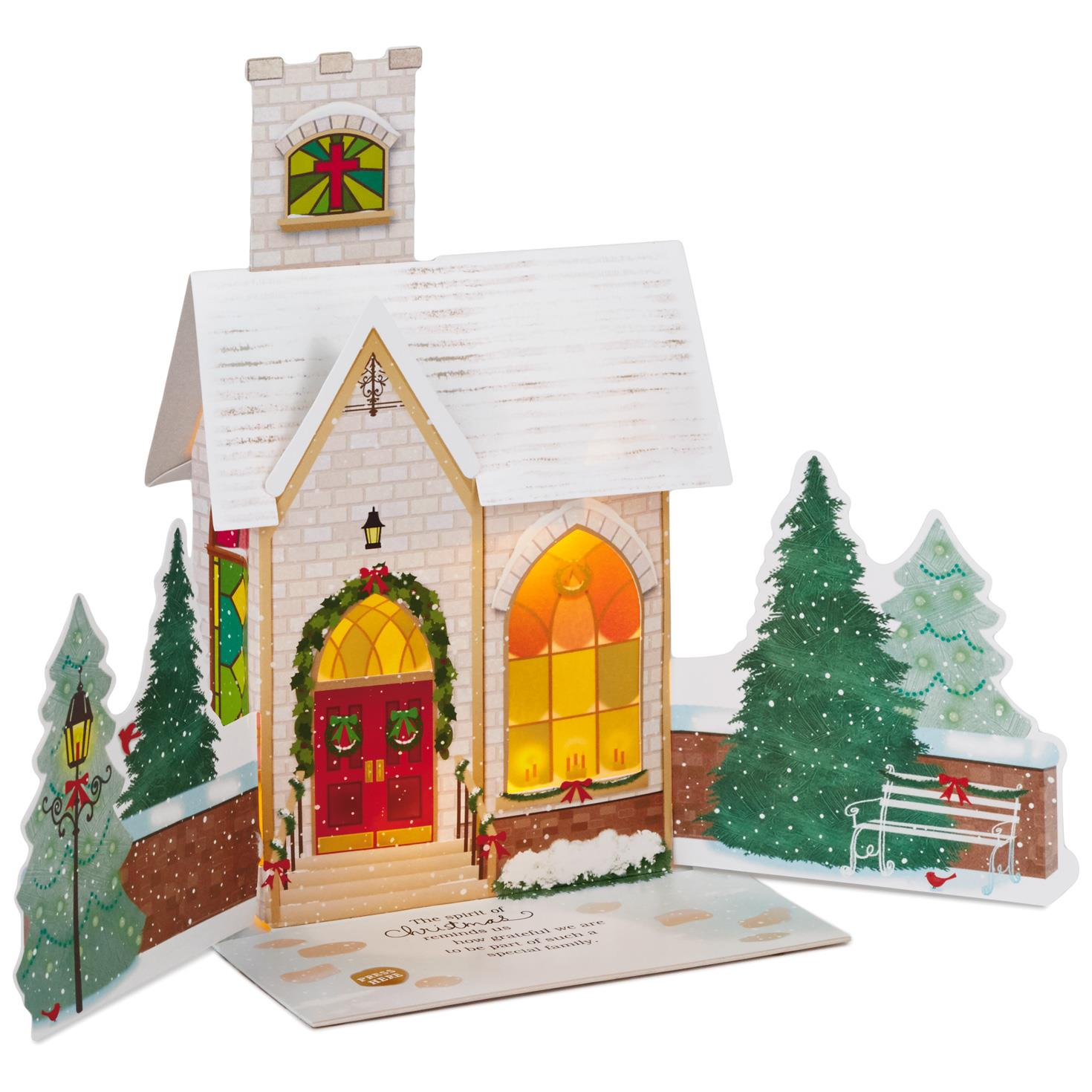 Village Church Pop Up Musical Christmas Card With Light