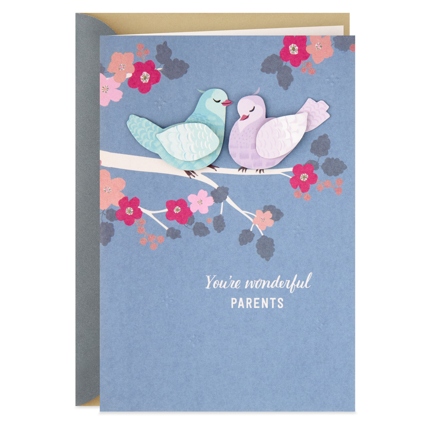 lovebirds anniversary card for parents  greeting cards