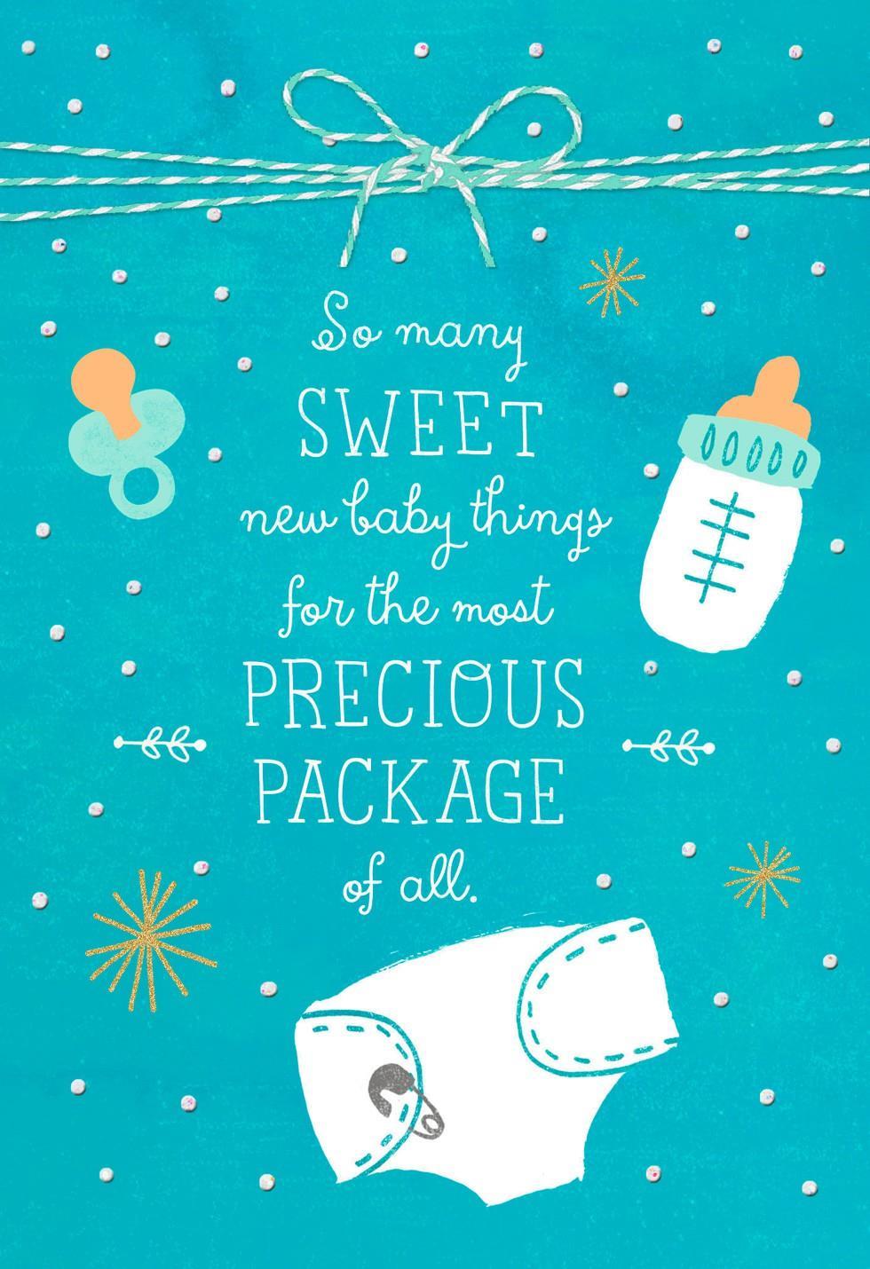 Precious Blue Package New Baby Boy Congratulations Card