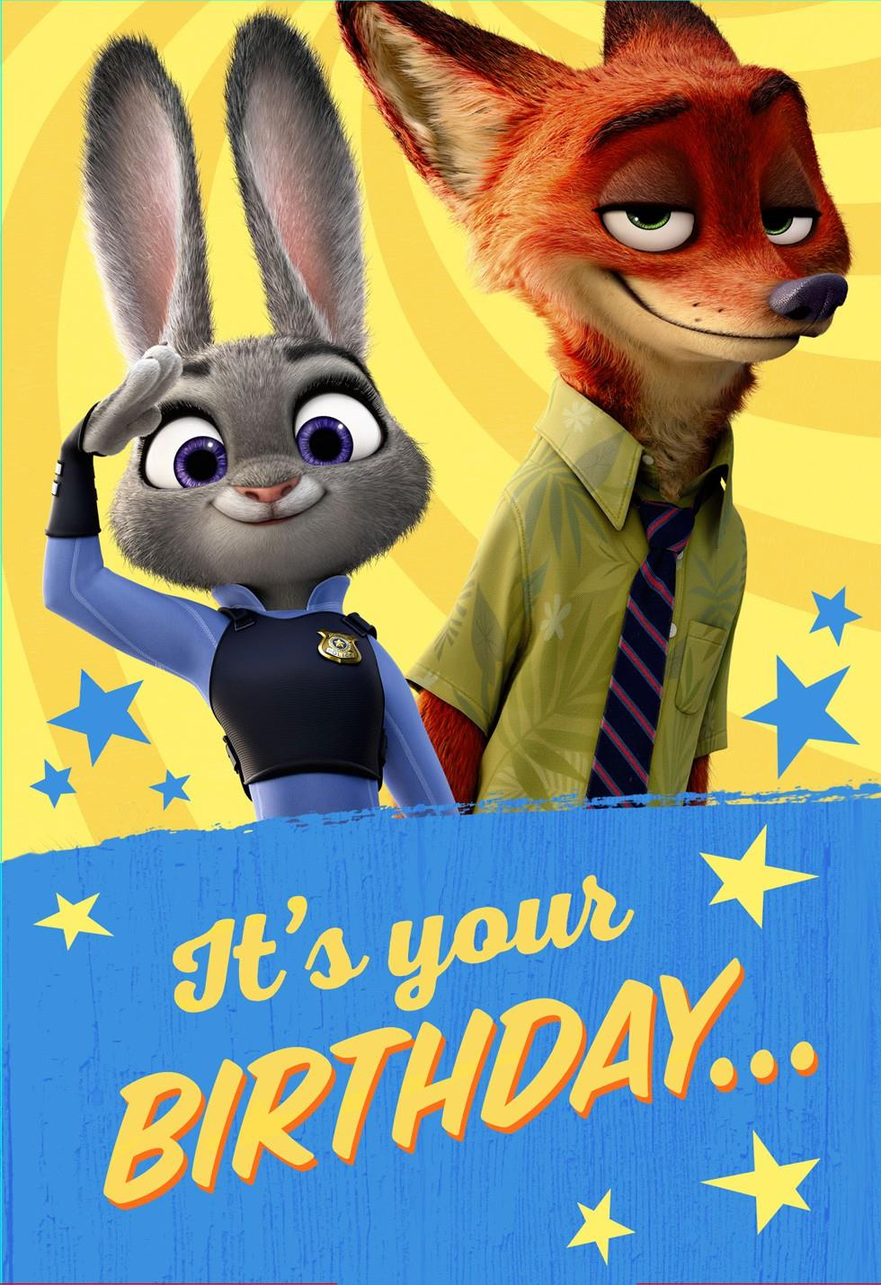 Disney Zootopia Coloring Poster Birthday Card Greeting