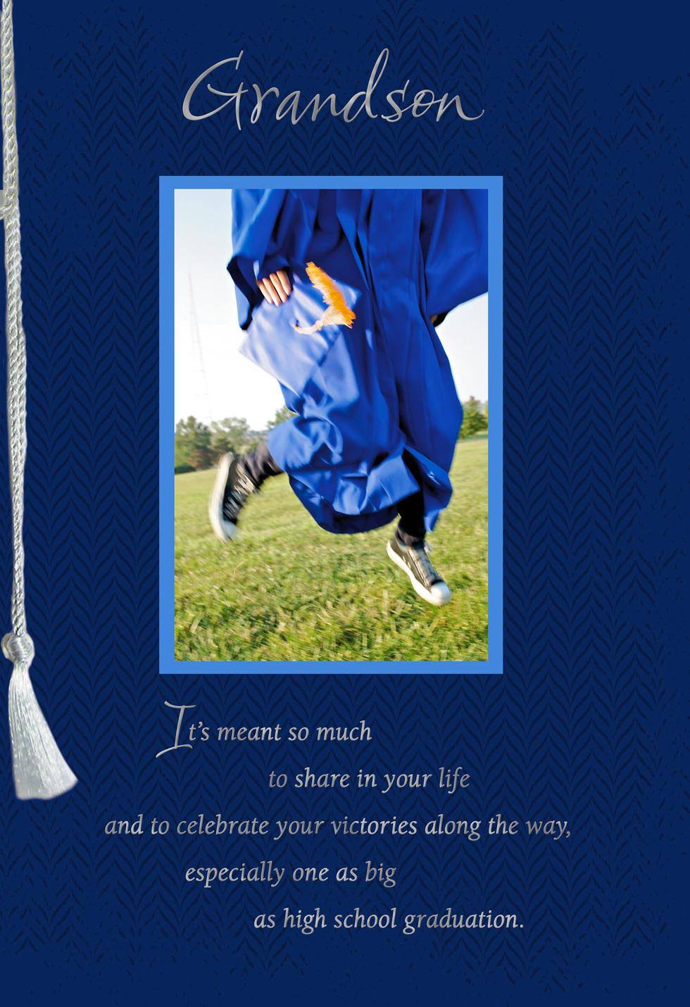 jumping for joy graduation card for grandson