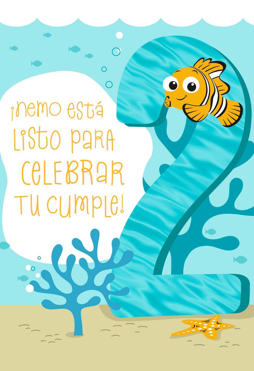 Disney Pixar Finding Nemo Spanish Language 2nd Birthday Card