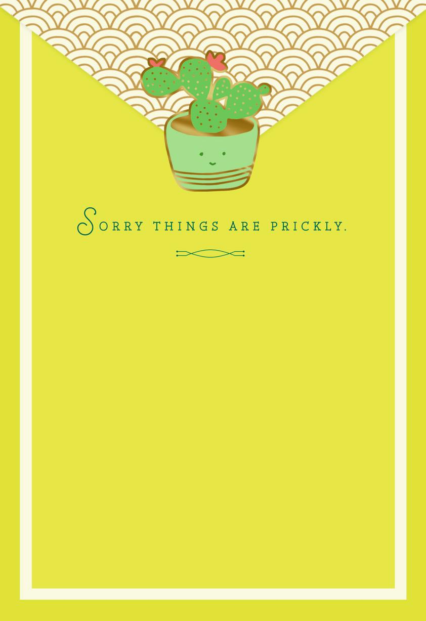 Sorry Things Are Prickly Encouragement Card Greeting