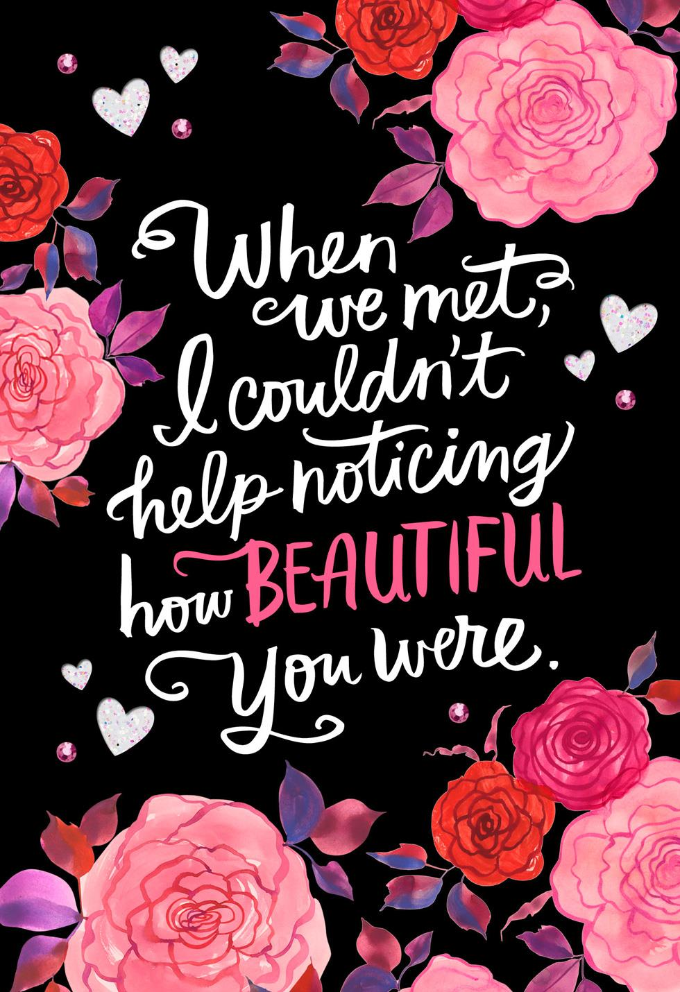 how beautiful you are romantic valentine's day card