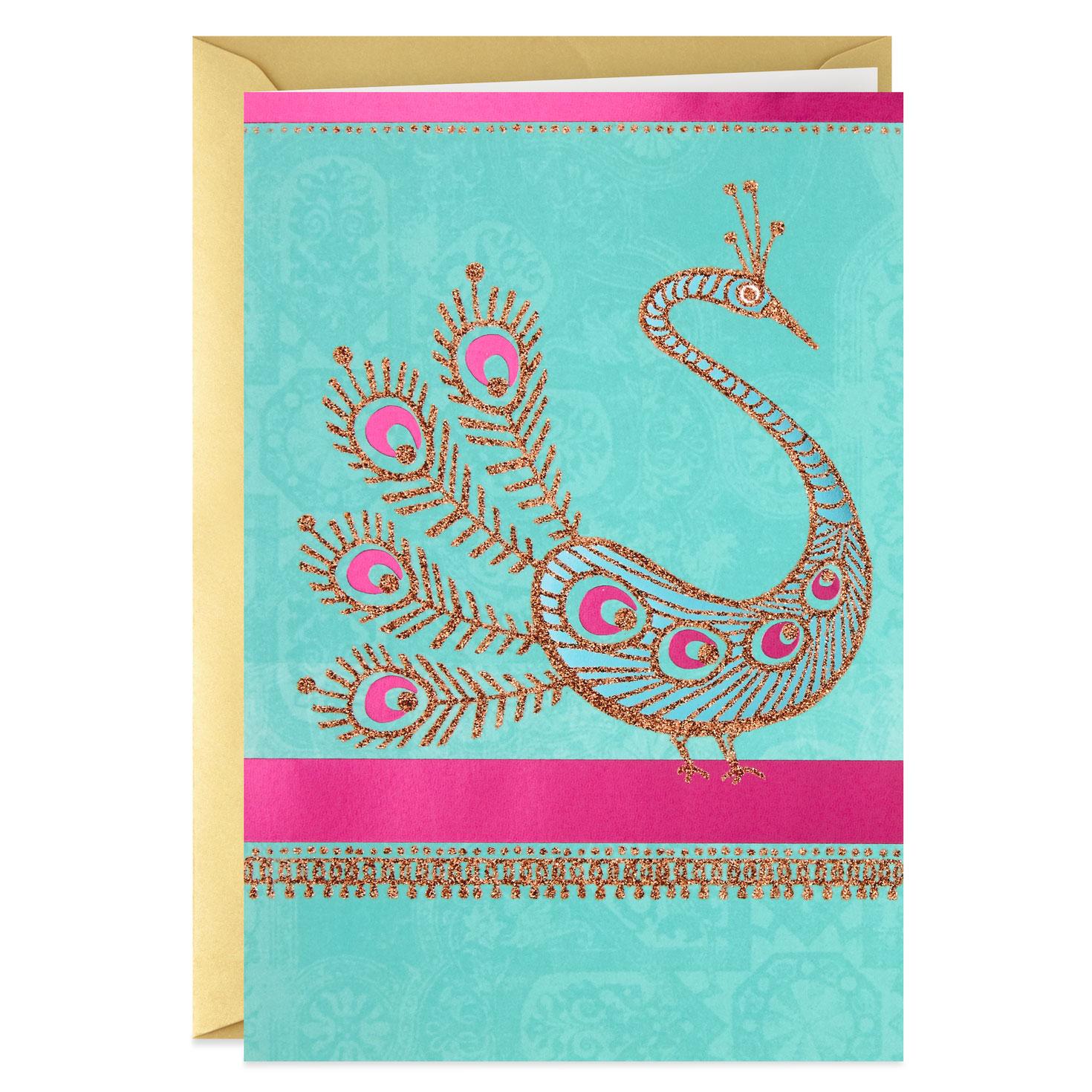 Glittery Peacock Blank Card - Greeting Cards - Hallmark