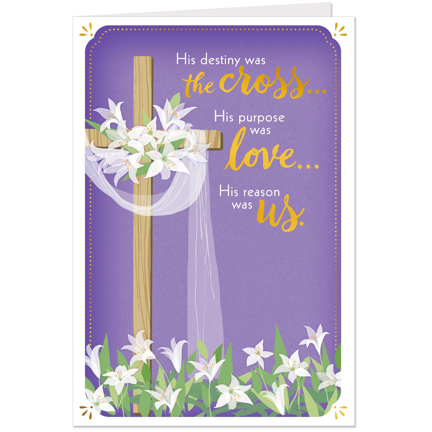Cross And Lilies Religious Easter Cards, Pack Of 10