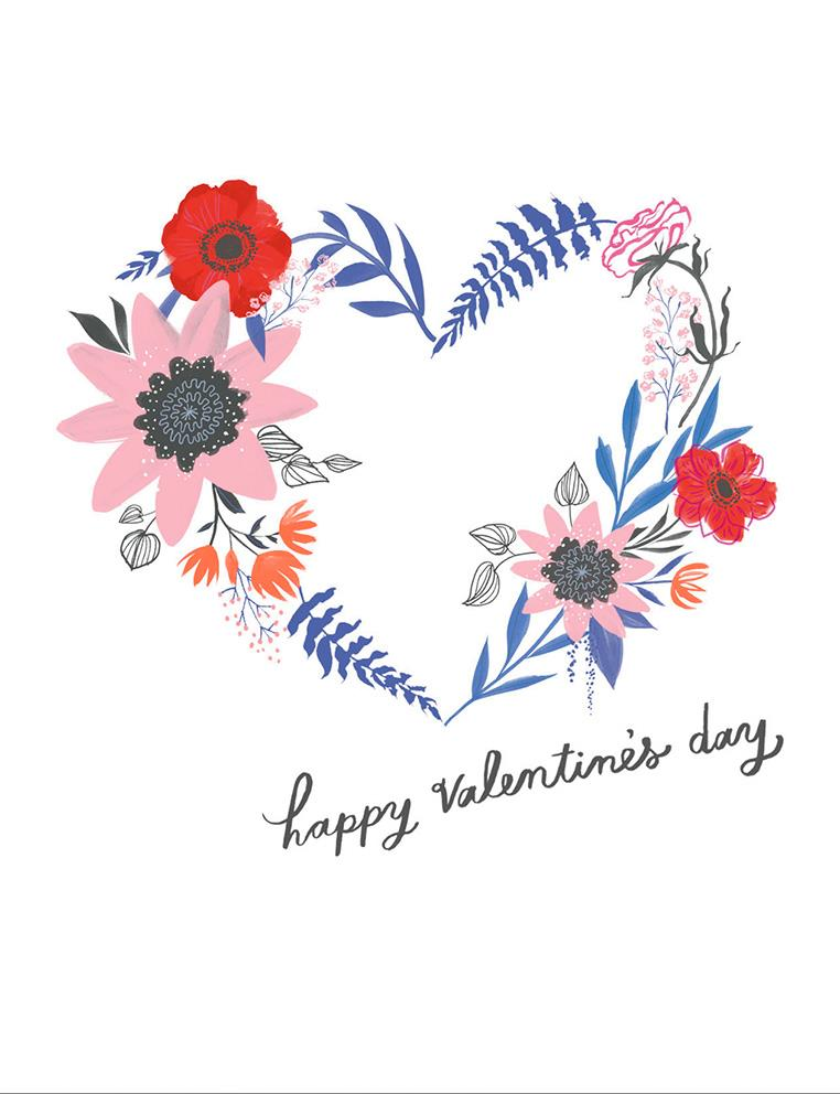Floral Heart Blank Valentines Day Card
