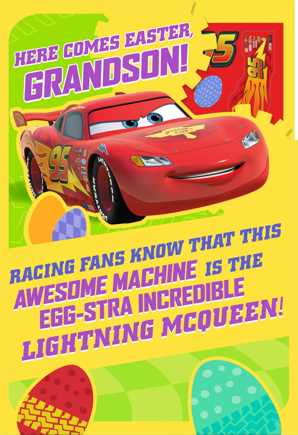 Cars Lightning McQueen Easter Card With Stickers for Grandson – Lightning Mcqueen Birthday Card