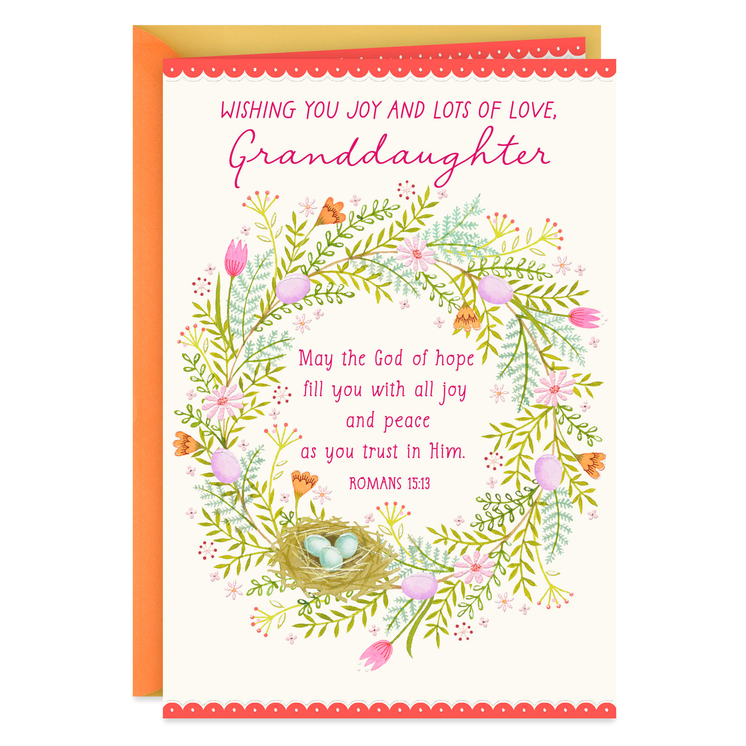 joy and love religious easter card for granddaughter