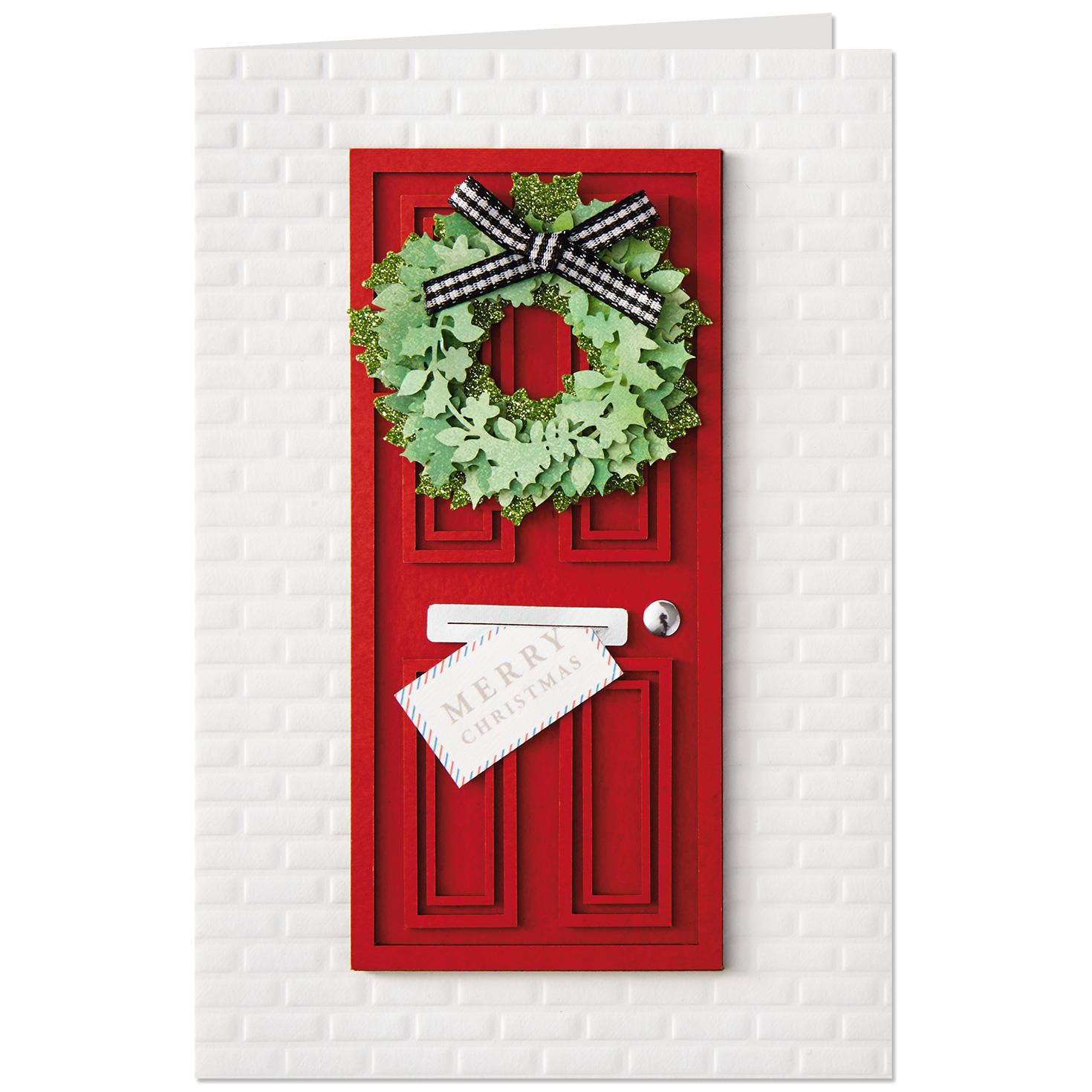 Red Front Door With Wreath Christmas Card Greeting Cards