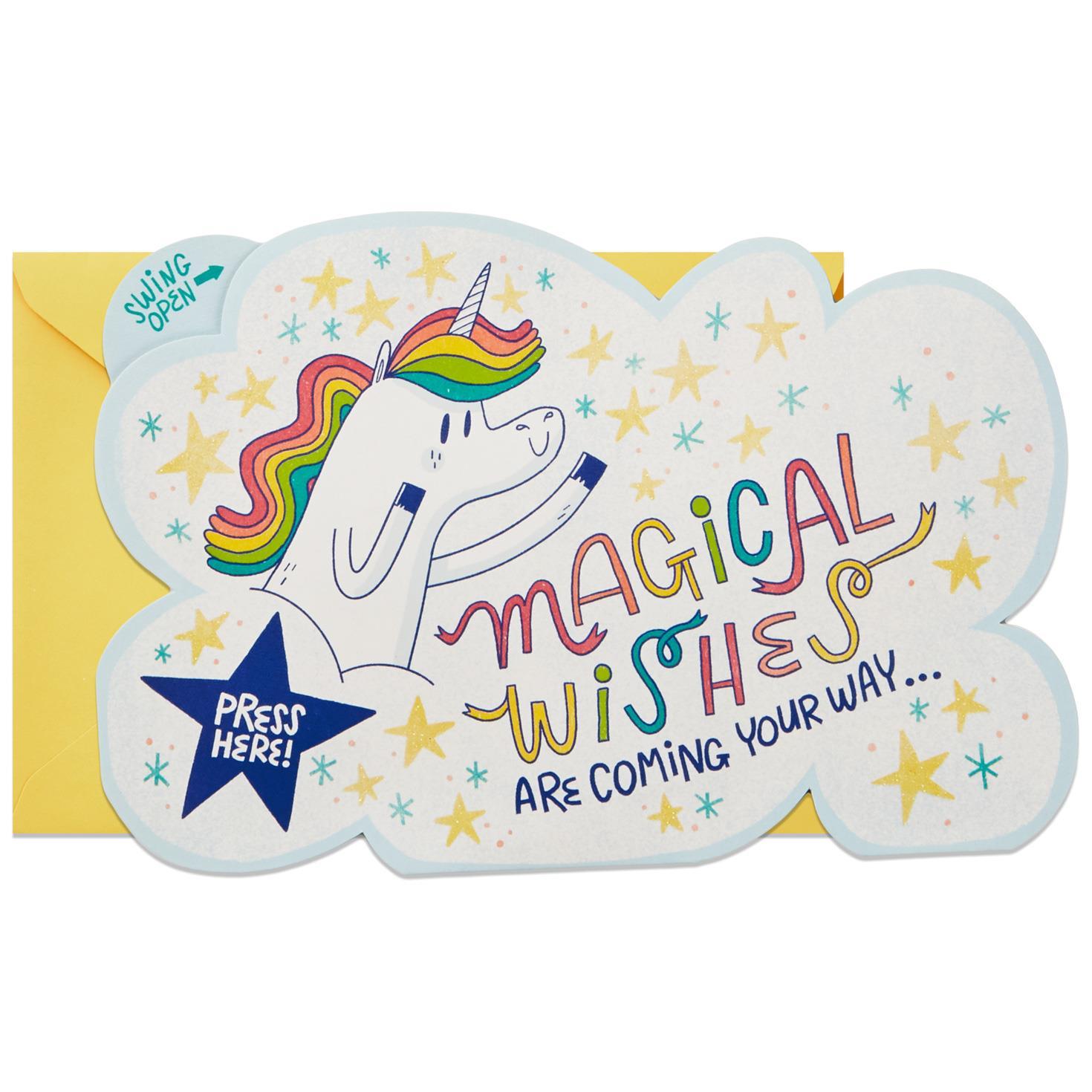 Unicorn and Rainbow Musical Birthday Card Greeting Cards Hallmark