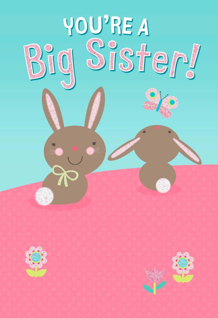 two bunnies new big sister card - greeting cards