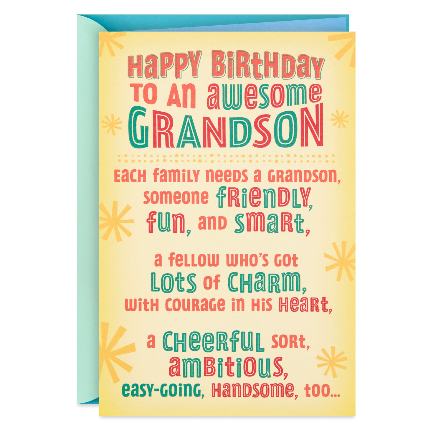 For You Grandson Awesome Teen Grandson Birthday Card