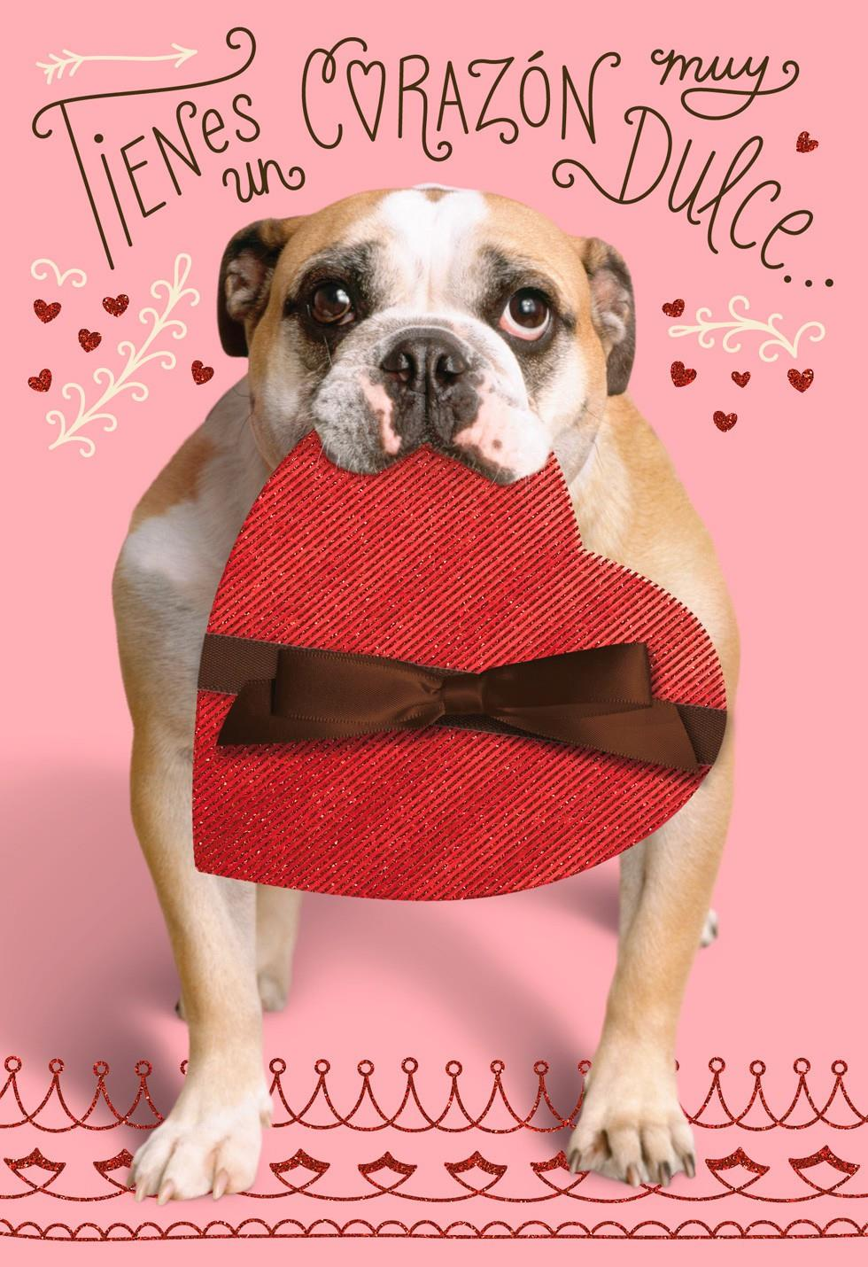 bulldog with candy heart spanish valentines day card - Dog Valentines Day Cards