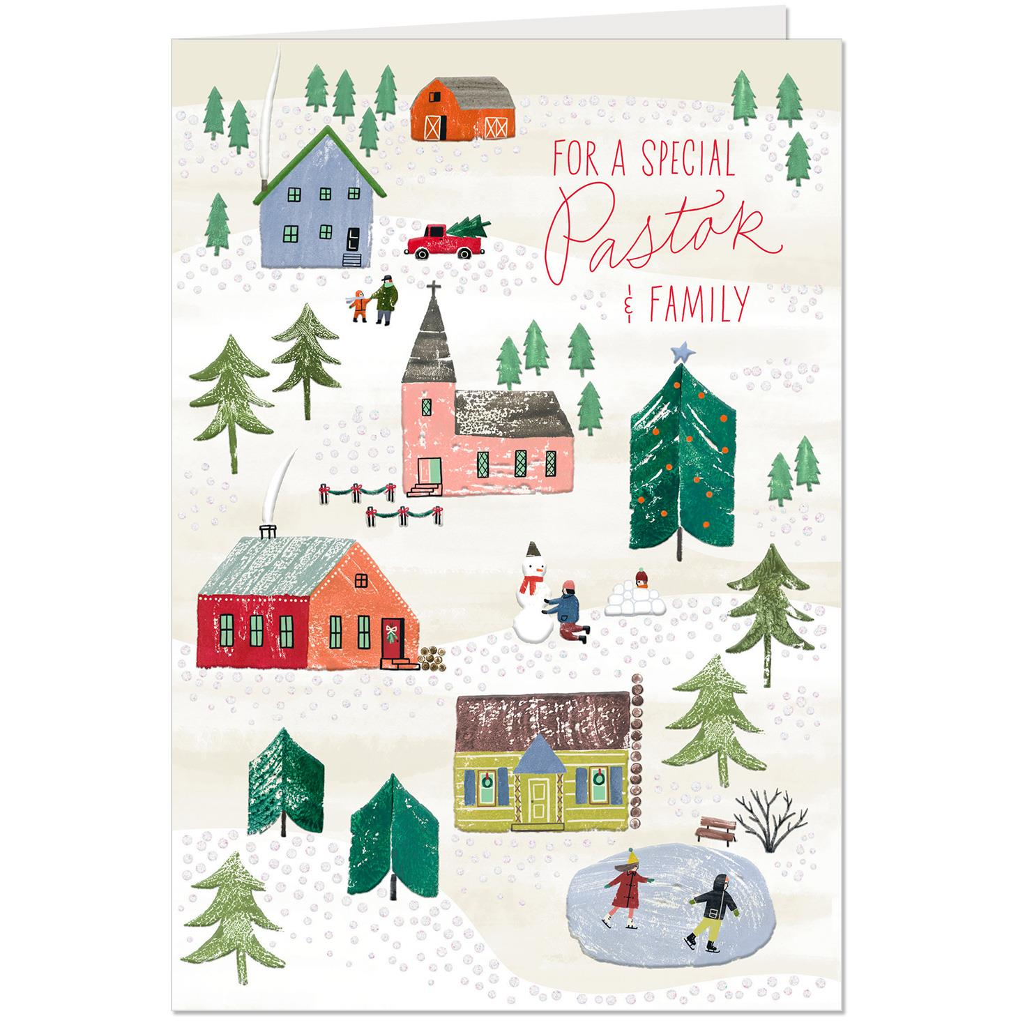 christmas village religious christmas card for pastor and family - Hallmark Christmas Village