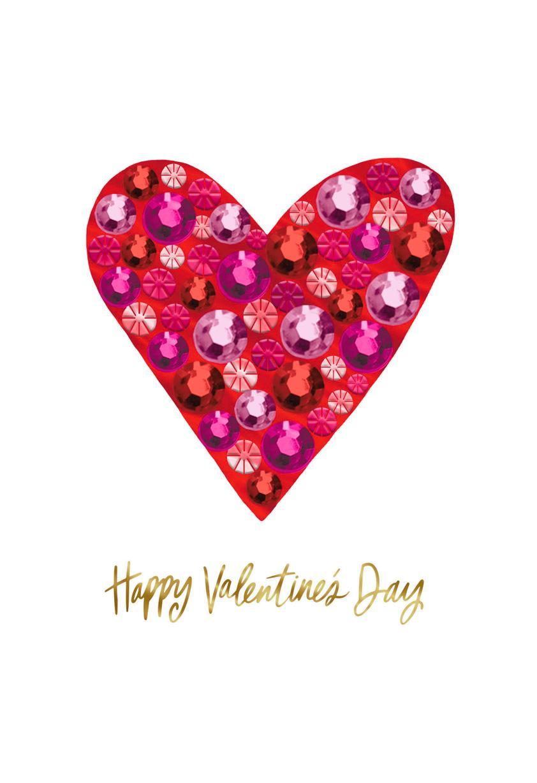 bling heart happy valentine u0026 39 s day card