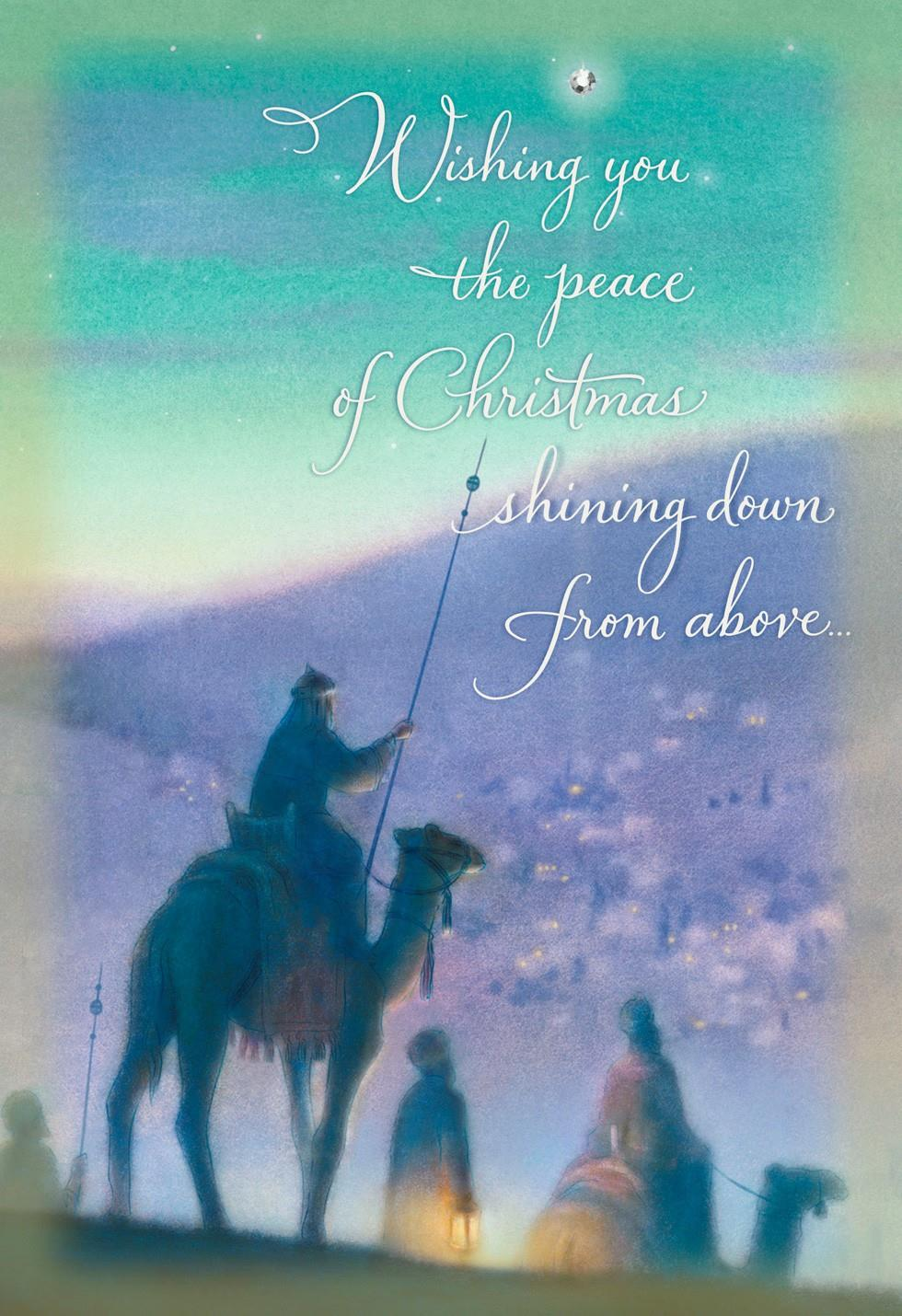wise men religious christmas card - greeting cards