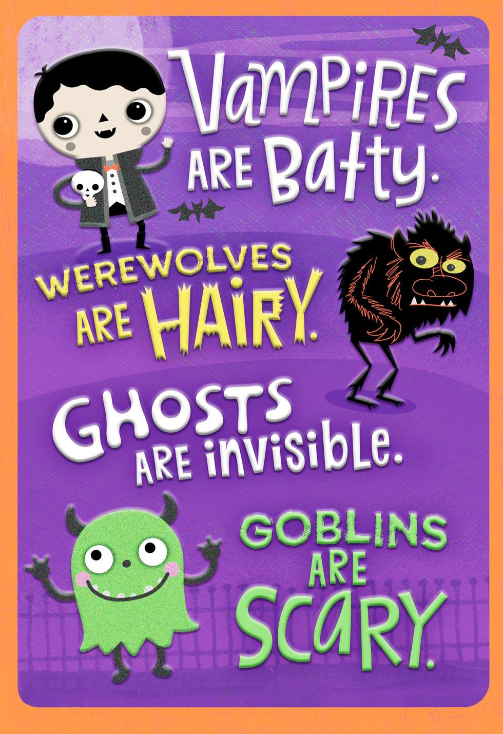 Ghosts Vampires And Werewolves Halloween Card For Nephew