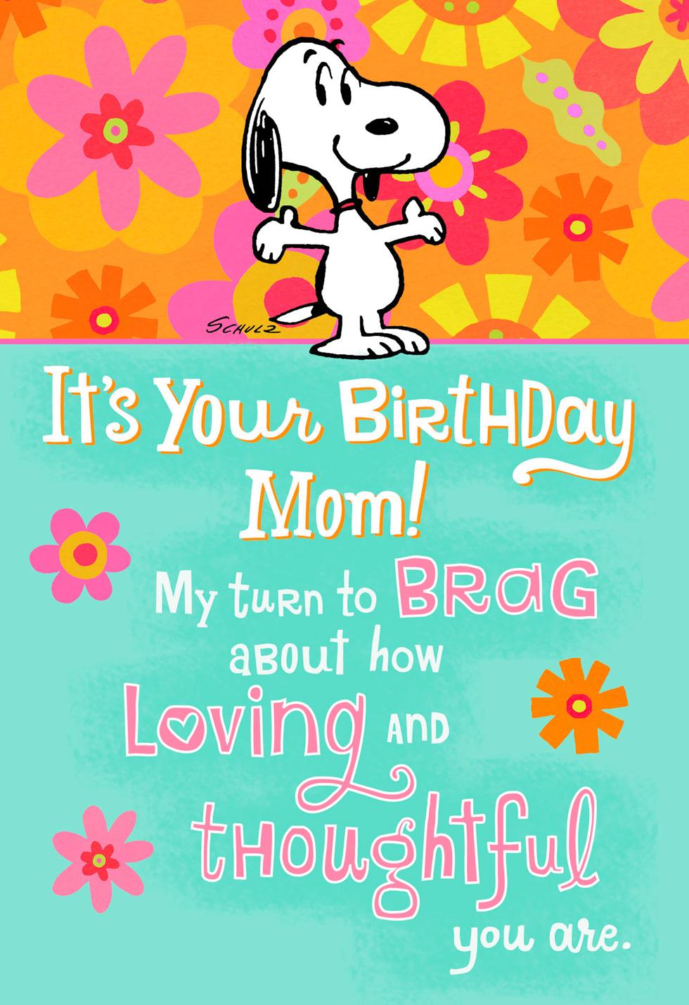 PeanutsR Snoopy Bragging Rights Funny Pop Up Birthday Card For Mom
