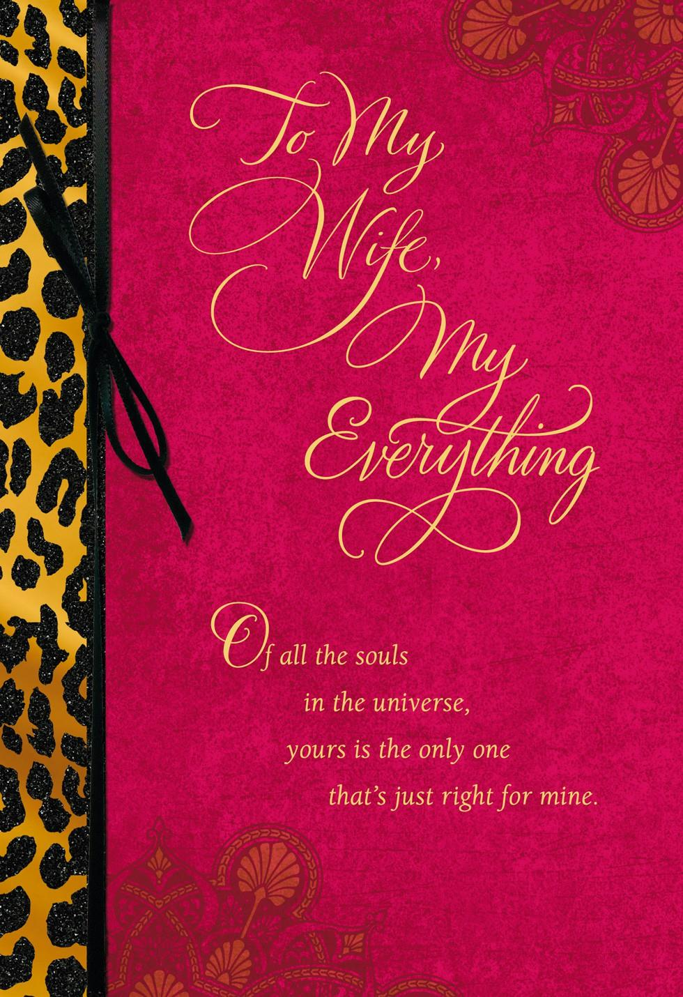 My Wife My Everything Valentines Day Card Greeting Cards – Valentine Day Cards for Wife