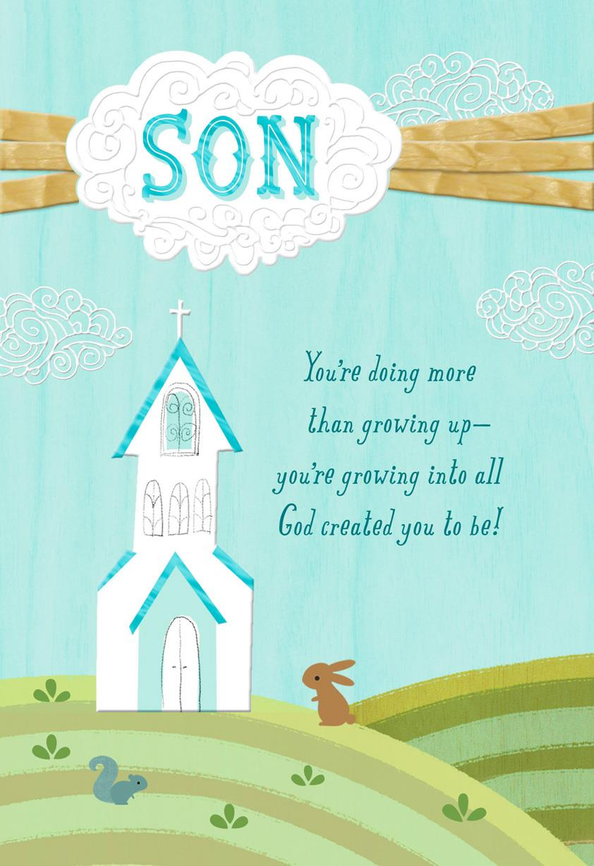 Celebrate with joy and love religious first communion card for son celebrate with joy and love religious first communion card for son m4hsunfo
